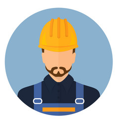 Builder in protective clothing and helmet vector