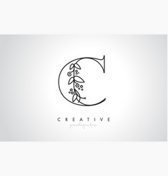 c letter logo with organic monogram plant leafs vector image