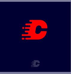 C letter winds movement dynamic logo velocity vector