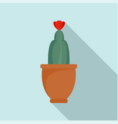 Cactus flower icon flat style vector