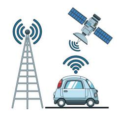 Car gps tracker technol vector