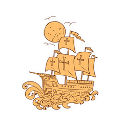 Caravel sailing ship moon drawing vector