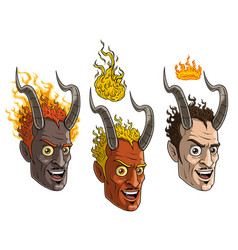 cartoon burning devil man with horns and crown vector image