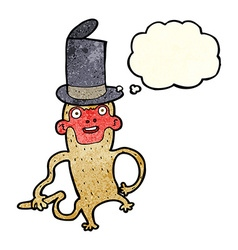 Cartoon monkey wearing top hat with thought bubble vector