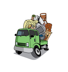 Cartoon pickup truck full household junk vector