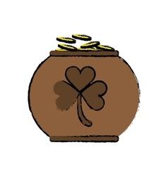 Cartoon pot full coins shamrock decoration vector
