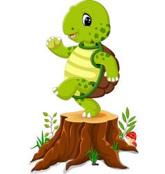 Cartoon turtle posing on tree stump vector