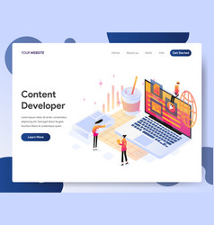 content developer isometric concept vector image
