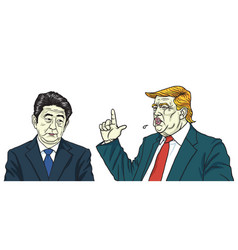 Donald trump with shinzo abe vector