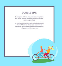Double bike poster depicting excited teenagers vector