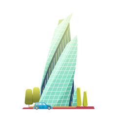 downtown skyscrapers with shiny glass facades vector image