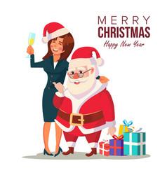 Drunk woman and funny santa claus vector
