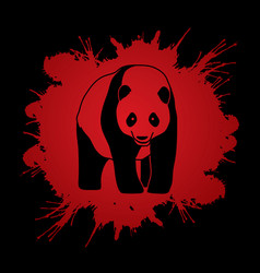 fat panda standing cartoon logo vector image vector image