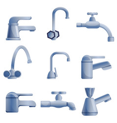 Faucet icons set cartoon style vector
