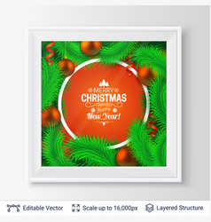 fir tree frame composition vector image