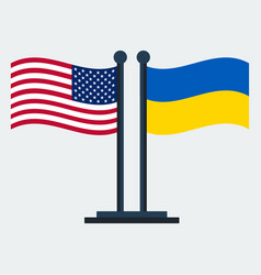 flag of united states and ukraine flag stand vector image
