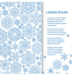 Flat poster or banner template with snowflakes vector