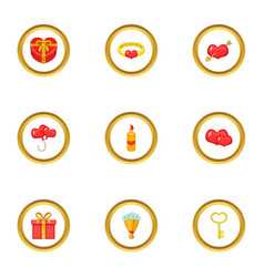 Giftware icons set cartoon style vector
