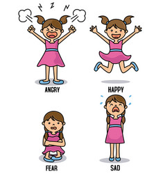 Girl with different emotions vector