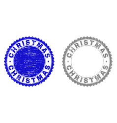 grunge christmas scratched stamps vector image