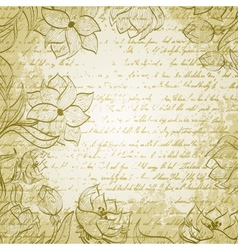 Grungy background with handdrawn flowers vector