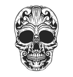 hand drawn human skull made floral shapes design vector image