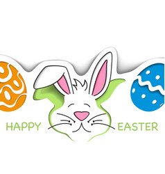happy easter greeting card with cute white bunny vector image