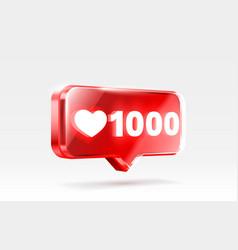 Heart 1000 like icon sign follower 3d banner vector