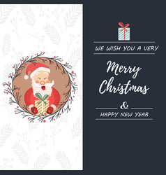 holiday postcard with laughing santa claus and vector image