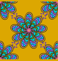 in nice textile style on yellow black and blue vector image