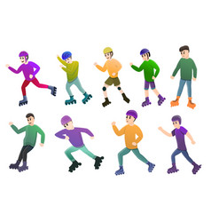 Inline skates icons set cartoon style vector