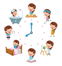 Kids daily routine activities vector