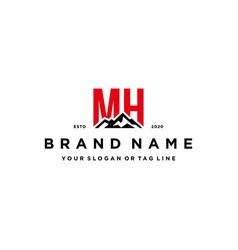 Letter mh mountain logo design vector