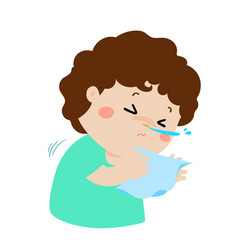 little boy sneezing cartoon vector image