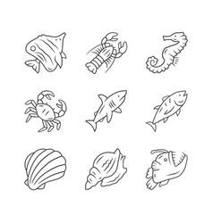 Marine animals linear icons set swimming shark vector