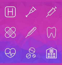 Medicine outline icons set collection of vector
