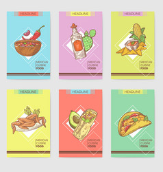 Mexican food hand drawn brochure template set vector