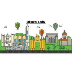 mexico leon city skyline architecture vector image