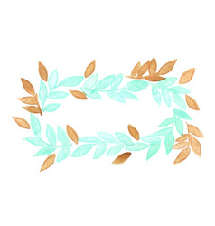 mint green and chocolate brown leaves wreath vector image
