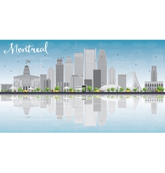Montreal skyline with grey buildings vector