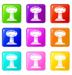 Mushroom cloud icons 9 set vector