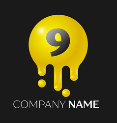 Number nine splash logo yellow dots and bubbles vector