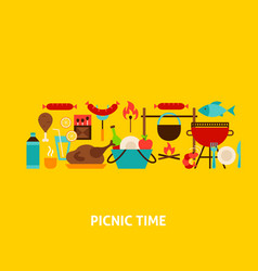Picnic time greeting card vector