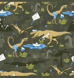 Play lover dinosaur seamless pattern for kids vector
