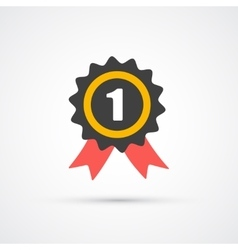 Prize with ribbon trendy flat icon vector