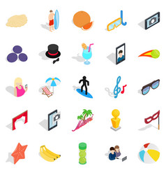 Rejoicing icons set isometric style vector