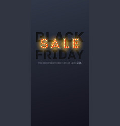 sale black friday paper carving and retro bulbs vector image