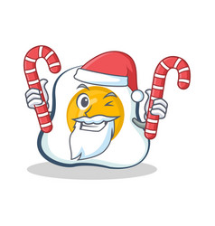 Santa fried egg character cartoon with candy vector