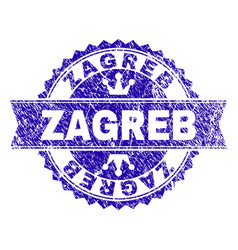 Scratched textured zagreb stamp seal with ribbon vector