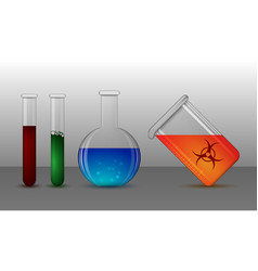 set flasks for chemical and medical laboratory vector image